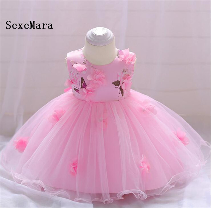 Infant flower Girl Dresses Baby Dress Embroidery 3D Flowers Baby Girl 1 Year Birthday Dress Christmas Dress Real Photo
