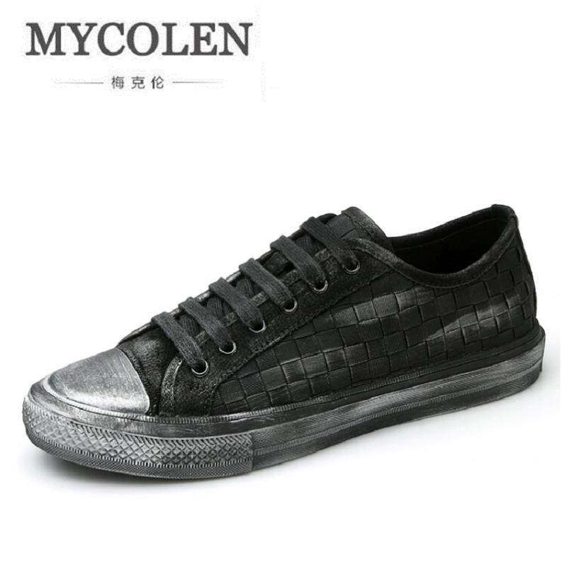 MYCOLEN High Quality Autumn Genuine Leather Men Shoes Fashion Woven Pattern Men Casual Shoes Vintage Style Lace Up Flats mycolen high quality men white leather shoes fashion high top men s casual shoes breathable man lace up brand shoes