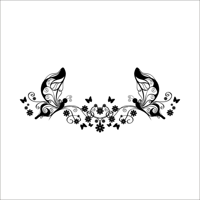 Simple butterfly flower bed bedroom living room sofa tv background wall stickers waterproof removable wallpaper 46