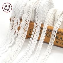 5yd/лот Высокое качество белая кружевная ткань лента хлопок кружево отделка шитье материал для дома шторы одежда аксессуары DIY