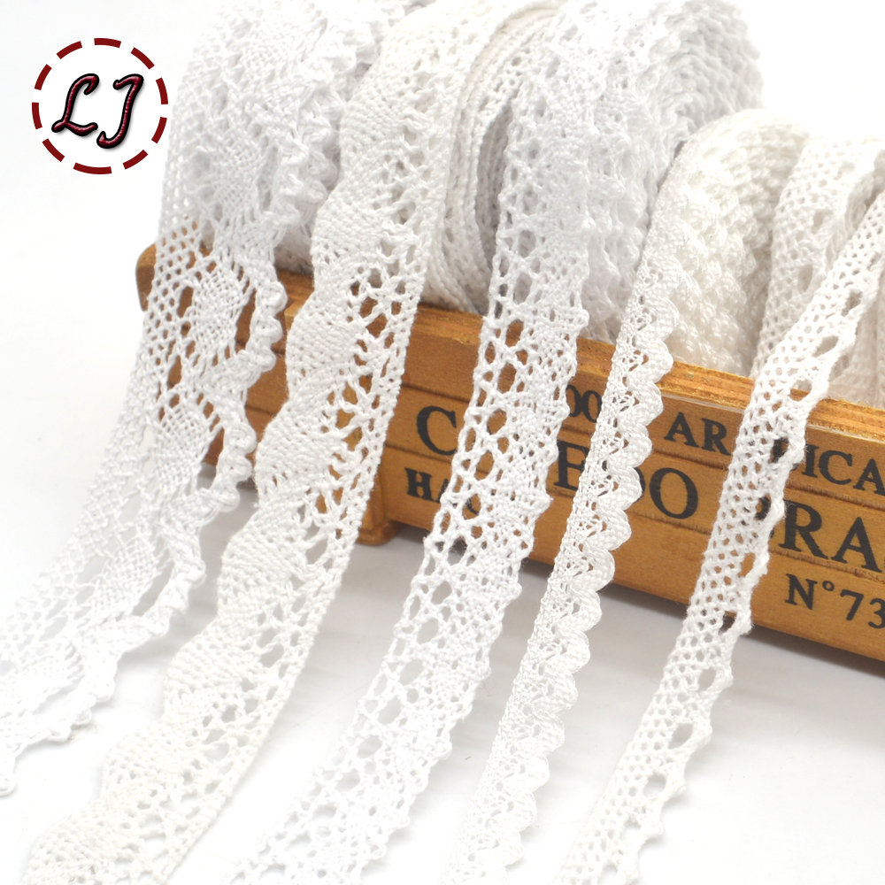 New 5yd/lot High Quality White Lace Fabric Ribbon Cotton Lace Trim Sewing Material For Home Curtains Garment Accessories DIY