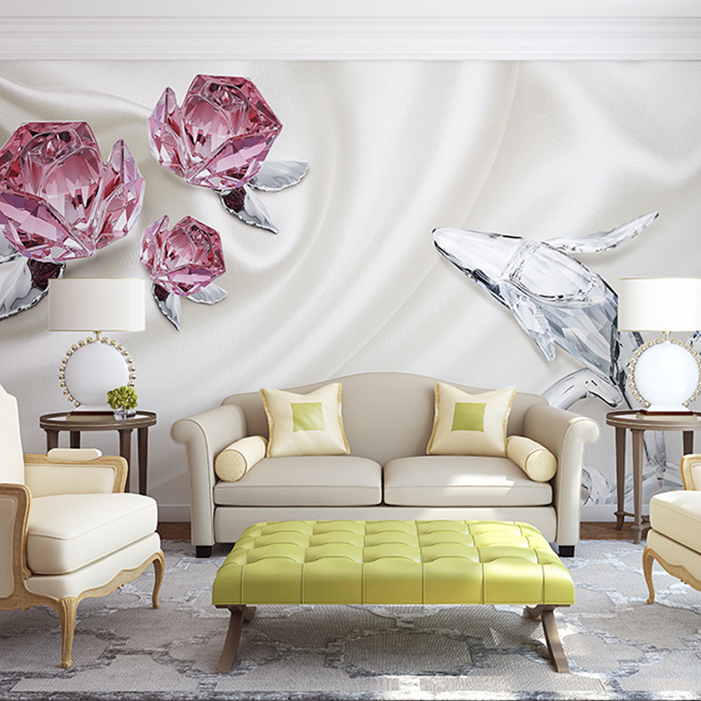 living wall 3d flowers mural wallpapers any custom