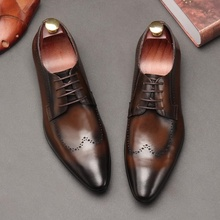 OMDE 2019 New Arrival Brogue Men Shoes Genuine Leather Pointed Toe Lace-up Dress Formal Fashion Office