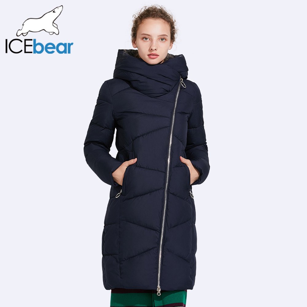 ICEbear Hat Non-removable Coat Women's Parkas Windproof Sleeve Opening Warm Coat Medium Length Warm 17G6102D