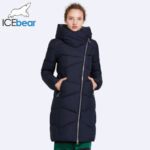 ICEbear 2017 Hat Non-removable Coat Women's Parkas Windproof Sleeve Opening Warm Coat Medium Length Warm 17G6102D