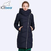 ICEbear 2017 Hat Non-removable Coat Women's Parkas Windproof Sleeve Opening Warm Coat Medium Length Warm 17G6102D
