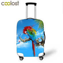 High Elastic Luggage Protective Cover Parrot Print Travel Accessories For 18-28 Inch Suitcase Carrier Luggage Cover Baggage Set(China)