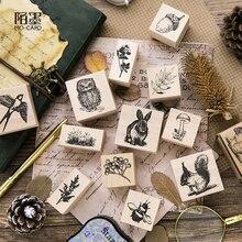 Động vật rừng Series gỗ tem con cú sóc gỗ cao su tem cho thêu Sò thẻ Handmade DIY tem Album Ảnh Thủ Công