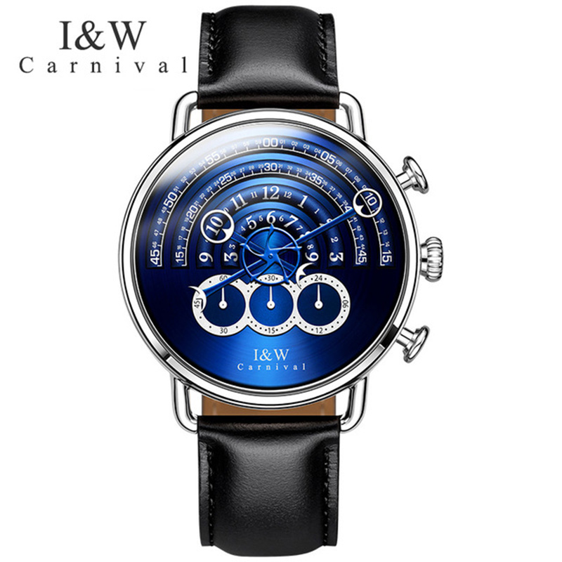 Carnival Quartz Watch Men Big Dial Waterproof Silver Stainless Steel Blue Dial Leather Sports wristwatch cagarny men watch multi movt numbers strips hours marks big dial leather band men quartz military wristwatch silver dial case
