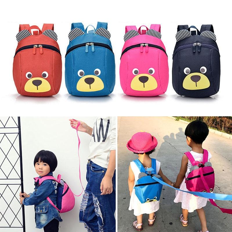 HOBBAGG Fashion Children Backpack Anti-lost Canvas Bag Cartoon Animal Bear Pattern Kindergarten Kids Baby School Bags 88 New