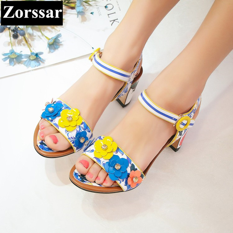 {Zorssar} Brand 2017 Summer High quality womens flowers shoes sandals peep toe High heels Ladies Wedding party Shoes plus Size new 2017 spring summer women shoes pointed toe high quality brand fashion womens flats ladies plus size 41 sweet flock t179