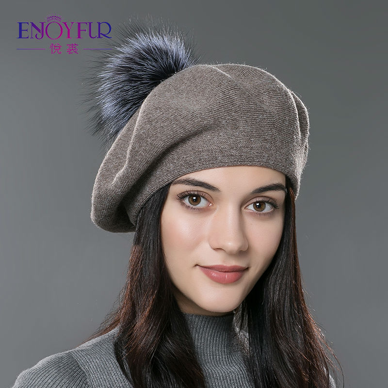 ENJOYFUR Women beret hat female winter knitted wool beret natural raccoon fox fur pompom hat solid color top quality beret cap