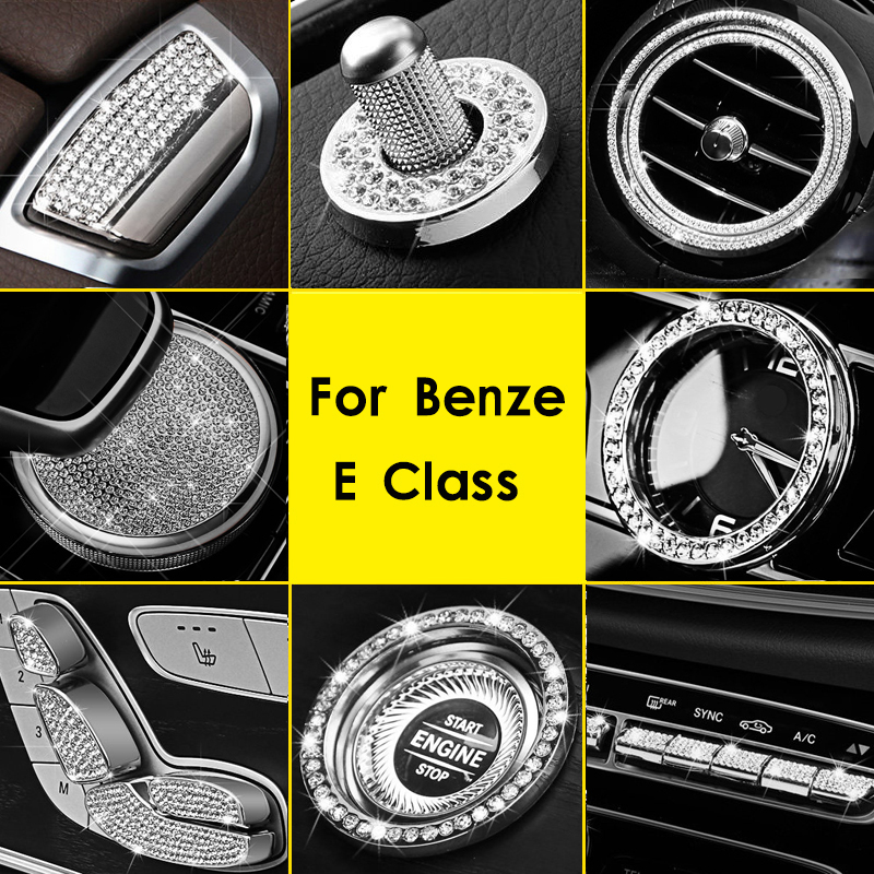 Clock Ring Seat Adjust Button Cover Air Outlet Cover Trim Diamond Interior Car Styling Accessories For Mercedes Benz E Class