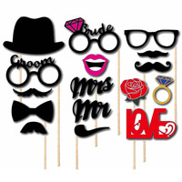 16 pcs Mustache On A Stick Wedding Party Photo Booth Props Photobooth Funny Masks Bridesmaid Gifts For Wedding Decoration