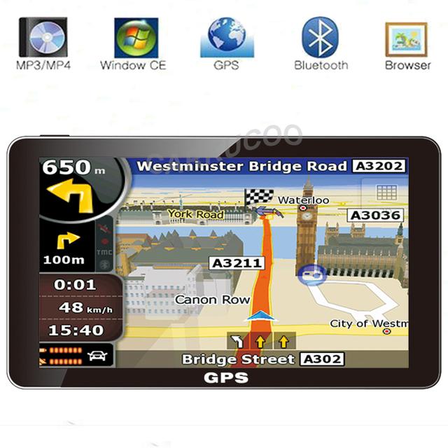 Portátil 7 Polegada CAMINHÃO Do Carro HD Navegador GPS Sat Nav 800 MHZ Bluetooth AV-IN Livre Mapas Rússia/Bielorrússia/cazaquistão Europa/EUA + Canadá