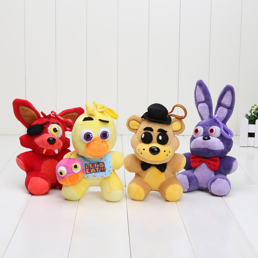 12pcs lot 14cm Five Nights At Freddy toy keychian FNAF plush doll Fazbear Nightmare Fredbear Golden