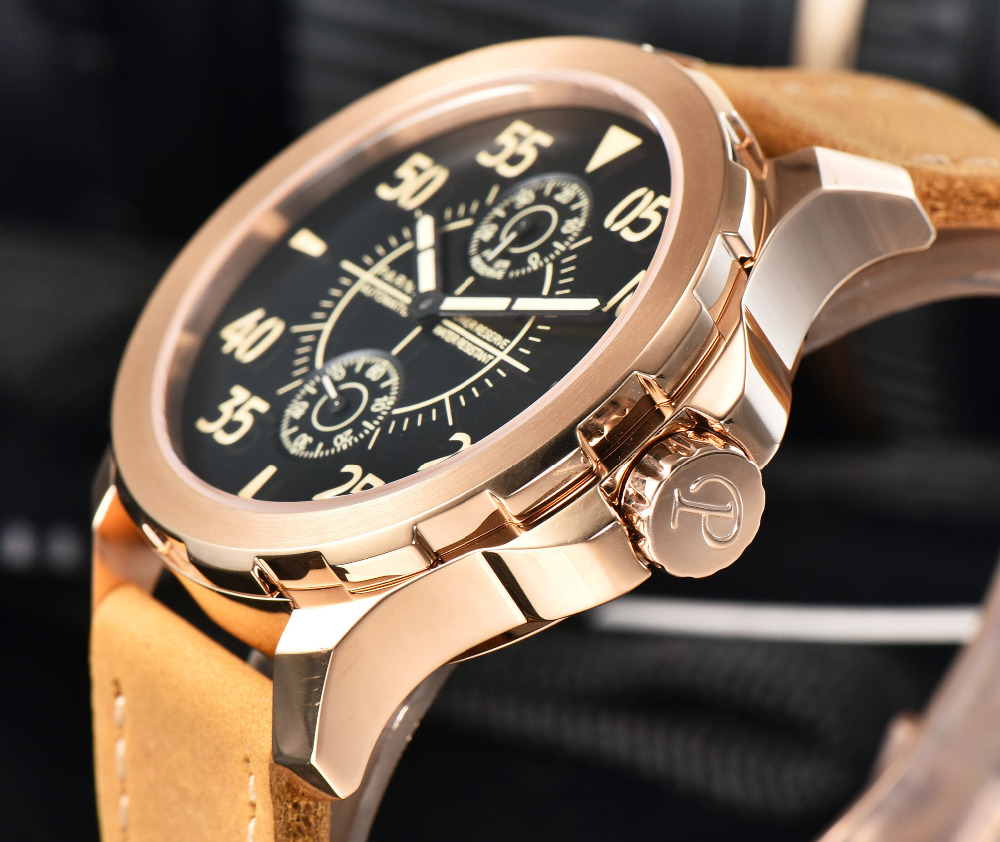 Parnis Automatic Watch Men 44mm Power Reserve Mechanical Gold Watches reloj automatico Sapphire Luminous Cowhide Leahter Watch mechanical watches tourbillon men watch parnis 44mm power reserved sapphire luminous genuine leahter steel black watches relojes