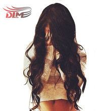 DLME Natural Wavy 24 inch Brazilian Pre Plucked Full Lace Wig with Baby Hair for Black women No Tangle No Shedding Synthetic