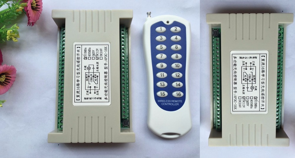 20--1000M Long Range DC12V 16CH Radio Controller RF Wireless Remote Control Switch System,315/433 Mhz 1*Transmitter + 2*Receiver long range dc24v 8ch radio controller rf wireless remote control switch system transmitter 2receiver for electronic door window