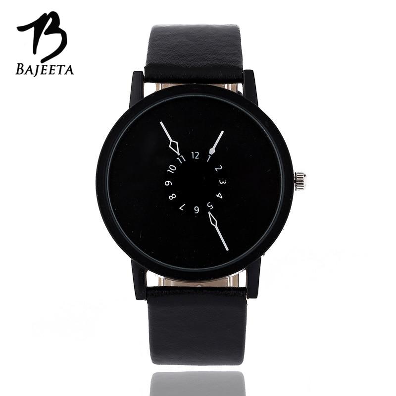 BAJEETA Fashion Casual Women Watch Men Top Brand PU Leather Quartz Wrist Watches Student Unique Style