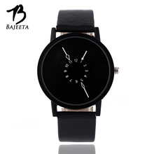 BAJEETA Fashion Casual Women Watch Men Top Brand PU Leather Quartz Wrist Watches Student Unique Style Black Watch Analog Relojes