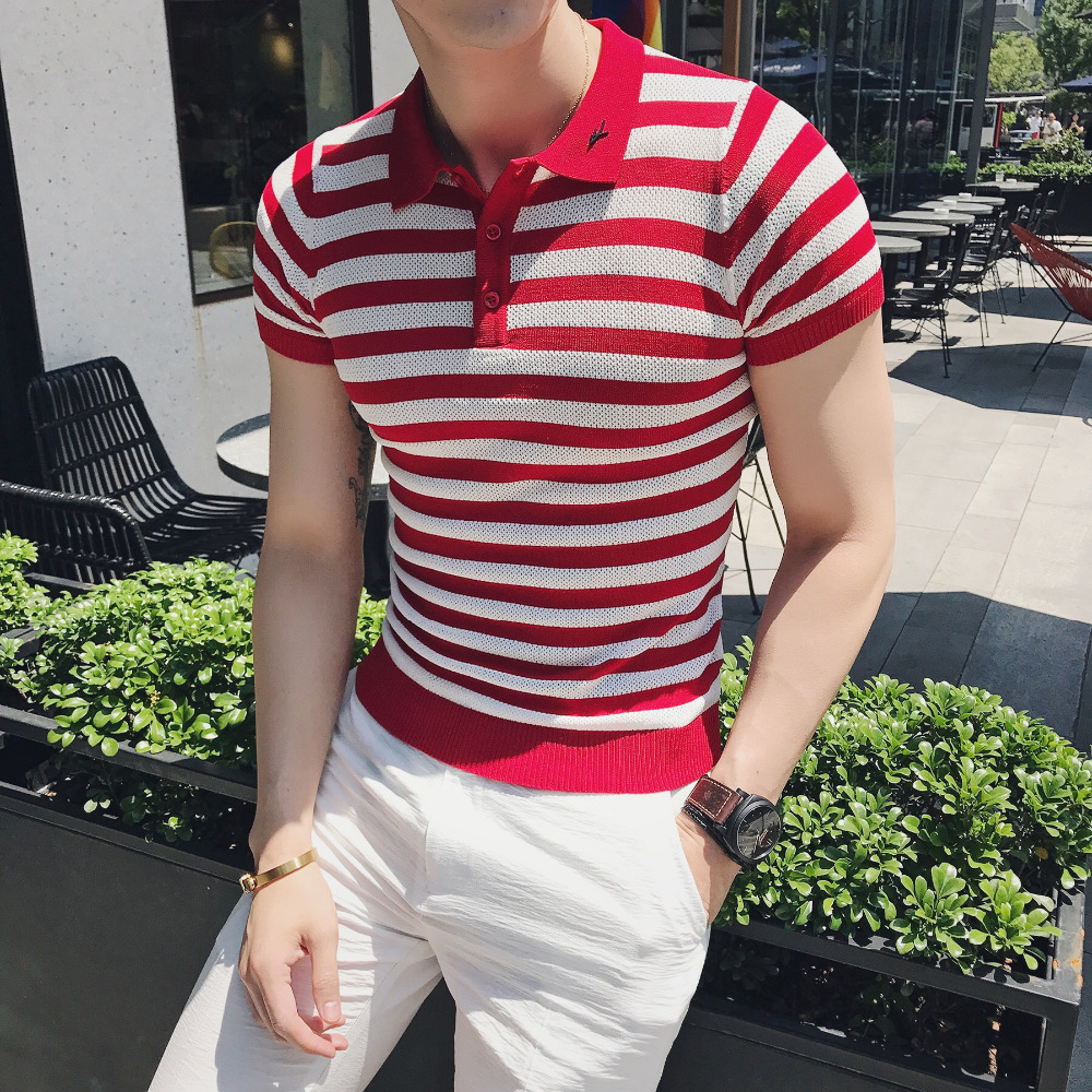 British Style   Polo   Shirt Men Summer Brand Slim Fit Casual Striped Men   Polos   Short Sleeve Turn Down Collar Business   Polo   Homme