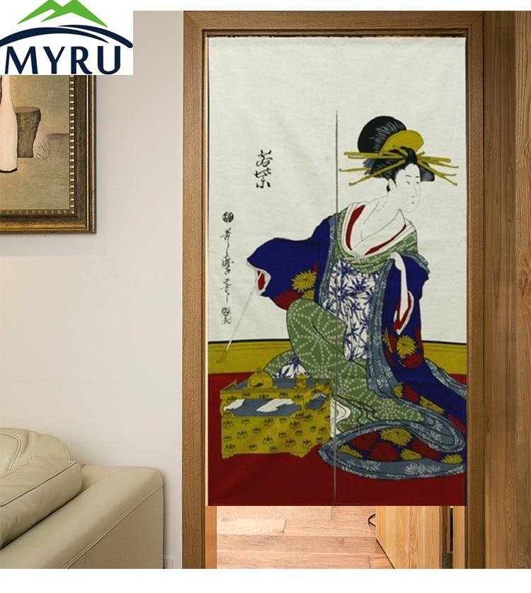 MYRU Japanese ukiyoe noren Geisha &bamboo printed door curtain half curtain / fitting room / bathroom curtain
