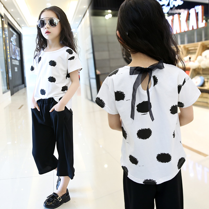 Summer Cool suit 2017 new Korean fashion short-sleeved T-shirt+wide leg pants suit big virgin casual cotton suit