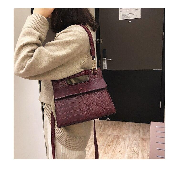 3 (1) Sac à Main Croco Style Vintage en simili cuir