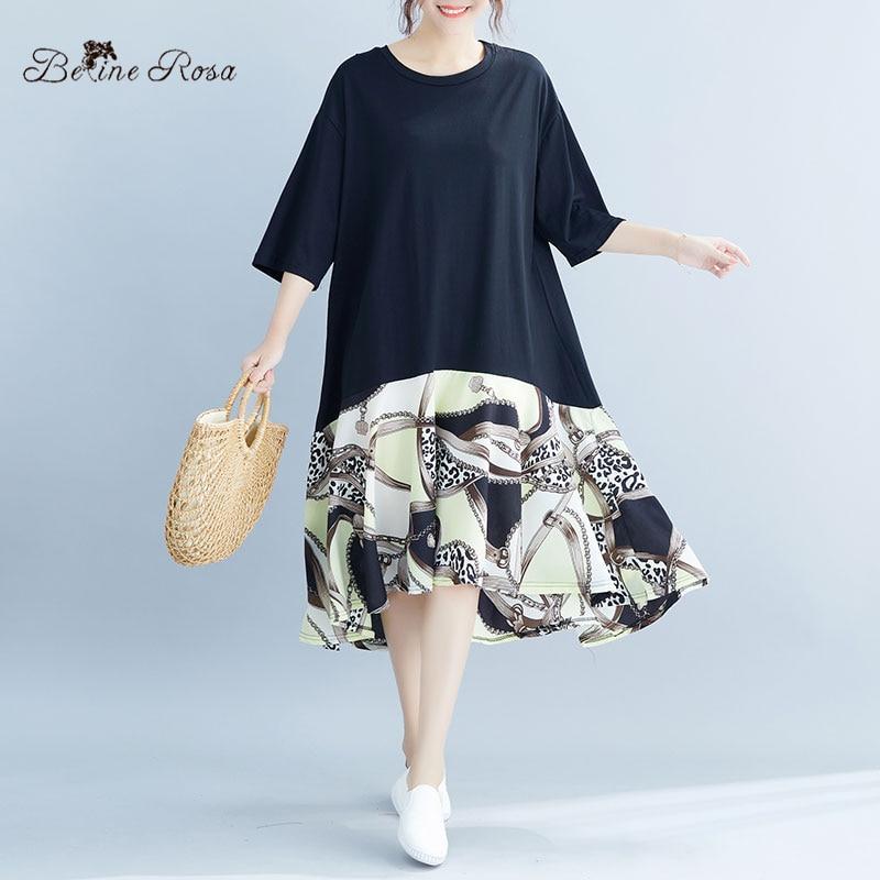 BelineRosa 2019 Women Fashion Plus Size Shirt Dress Large Size Women Clothing Patchwork Casual Cotton Women's Clothes JJDM0072