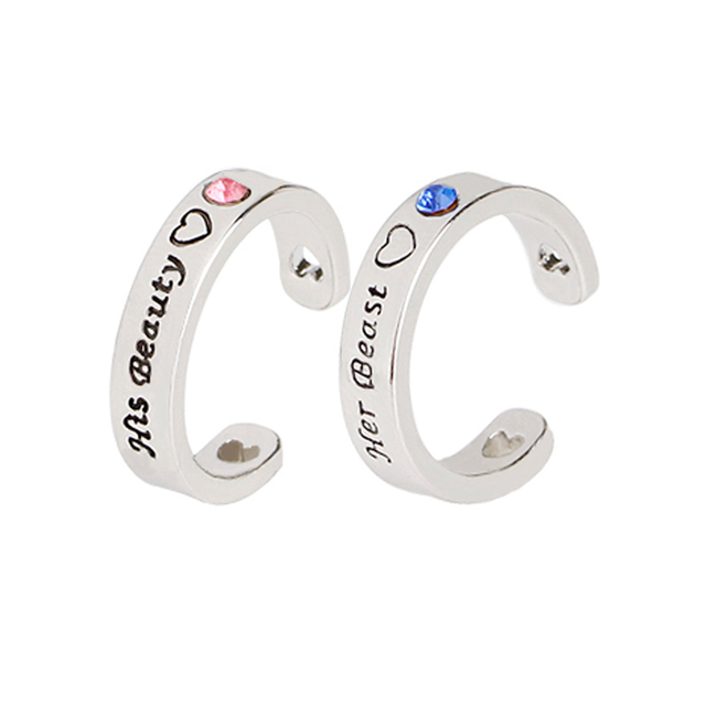6b2a05284a Rhinestone Her Beauty His Beast Heart Cut Off Engraved Open Adjustable Ring  Couple Rings Set Valentine's Day Gift