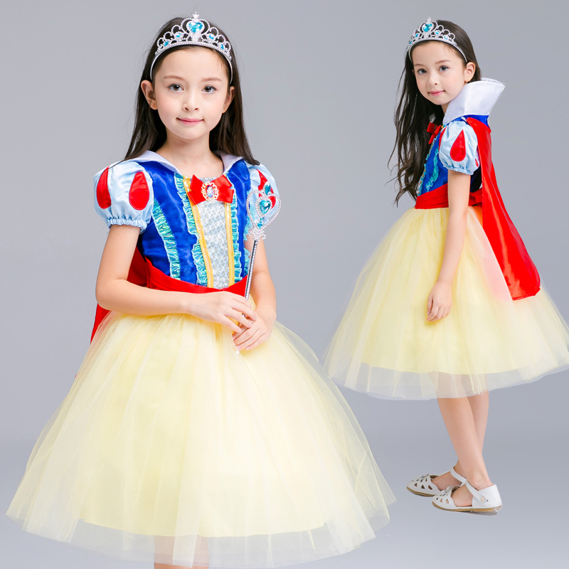 Fashion Girl Snow White Princess Dress Gowm Party Cosplay Performance Dress Clothes With Cloak For 3 to 8 Years Kids Mini Dress
