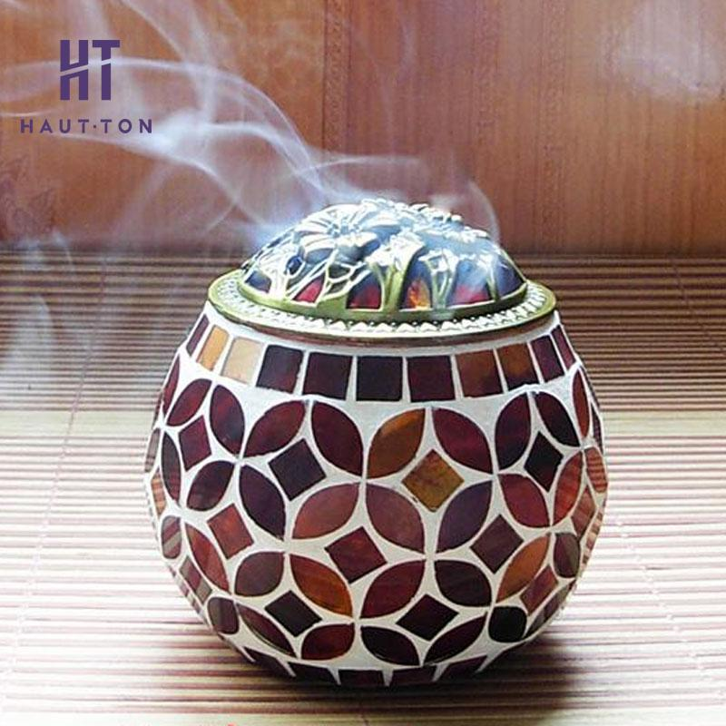 Glass Aroma Burner Mosaic Aromatherapy Stove Antique Incense Sandalwood Furnace Chamber For Living Room Beautiful Gifts F