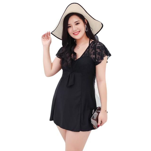 2018 Newest 6XL plus size swimwear one piece swimsuit black solid beachwear mesh short sleeve bodysuit skirt halter bathing suit 1