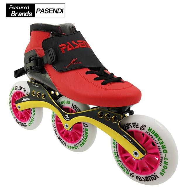 PASENDI Professional Speed Skating Shoes Adults Roller Skate Shoe 4 Wheels  For Kids Inline Skates Boots Carbon Women Men 110mm 19e43fb3e