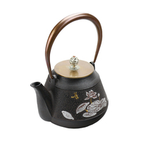 Handmade White Lotus Carving Cast Iron Tea pot Chinese Tea Pot Tea Kettle Body Copper Handle and Cap Durable Teapot