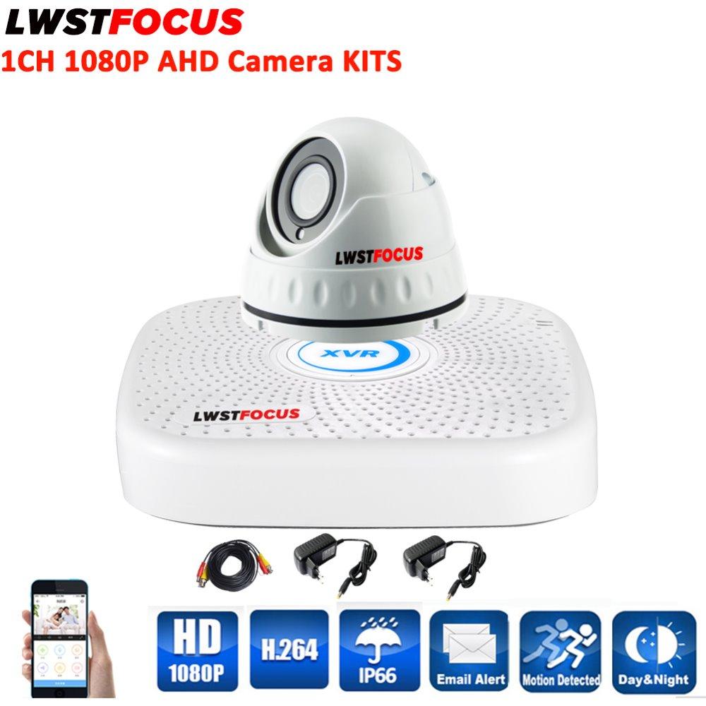 LWSTFOCUS 4CH Security Camera System 1080N AHD DVR Kit Hybrid 1PC 1080P CCTV Metal Outdoor Waterproof Dome Surveillance Camera