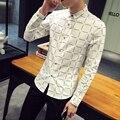 2016 Nova Marca Homens Casuais camisa Slim Fit moda Masculina xadrez camisa de manga longa de Algodão dos homens camisas de vestido chemise homme 5XL Branco