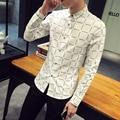 2016 Nueva Marca Hombres Casual camiseta Slim Fit Hombres de la moda a cuadros camisa de Algodón de manga larga camisas de vestir para hombre chemise homme 5XL Blanco