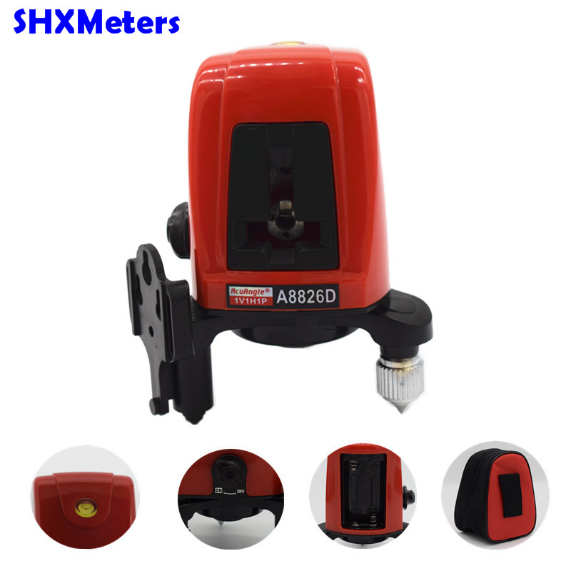 все цены на 2017 Hot Sale Free Shipping A8826D 360 Degree Self- Leveling Cross Laser Level 1V1H Red 2 Line 1 Point