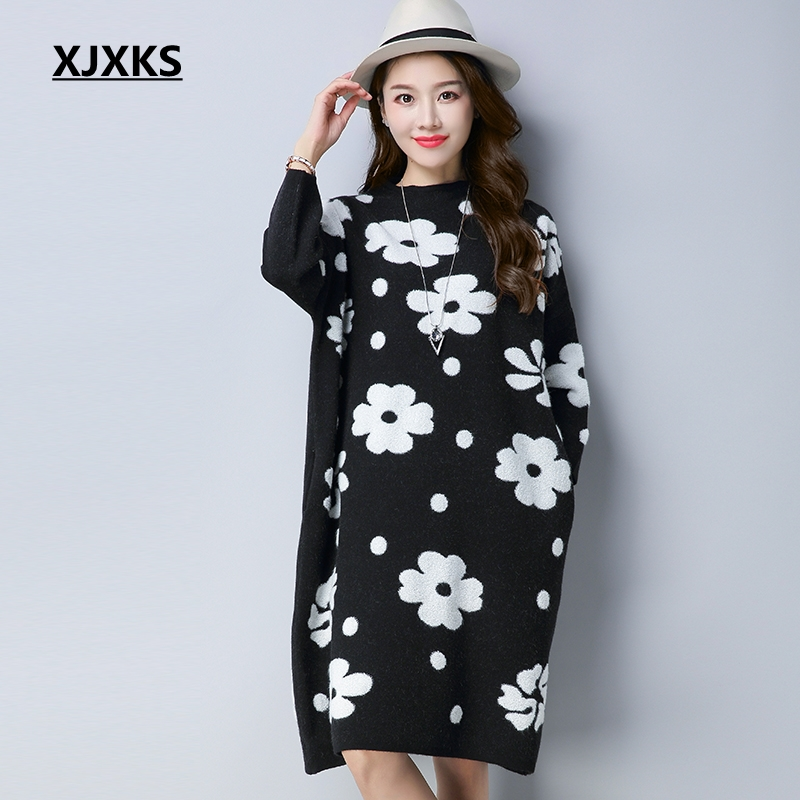 XJXKS Long Sweater Autumn 2018 Plus Size Women Pullover White Flower Oversized Pocket Streetwear Winter Women Sweater Dress