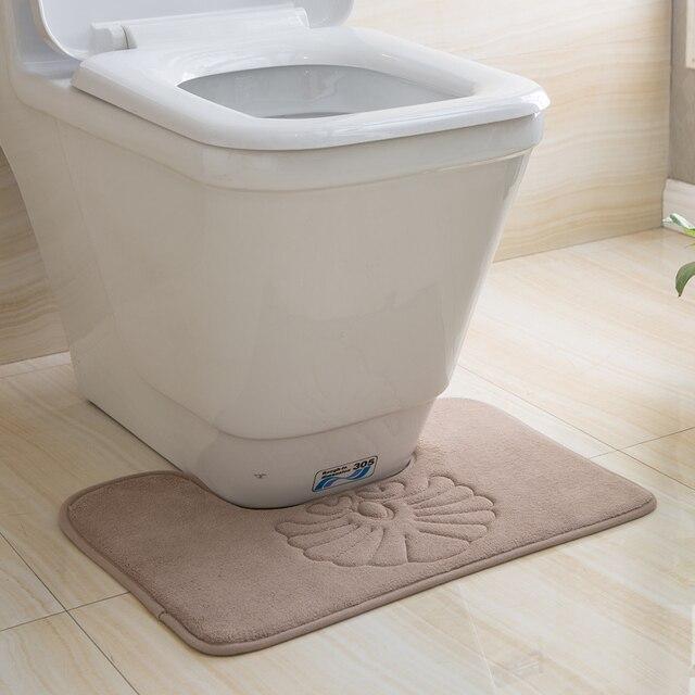 4 Colors Available Machine Washable Pvc Non Slip Floor Mat Toilet Mats Bathroom Rugs