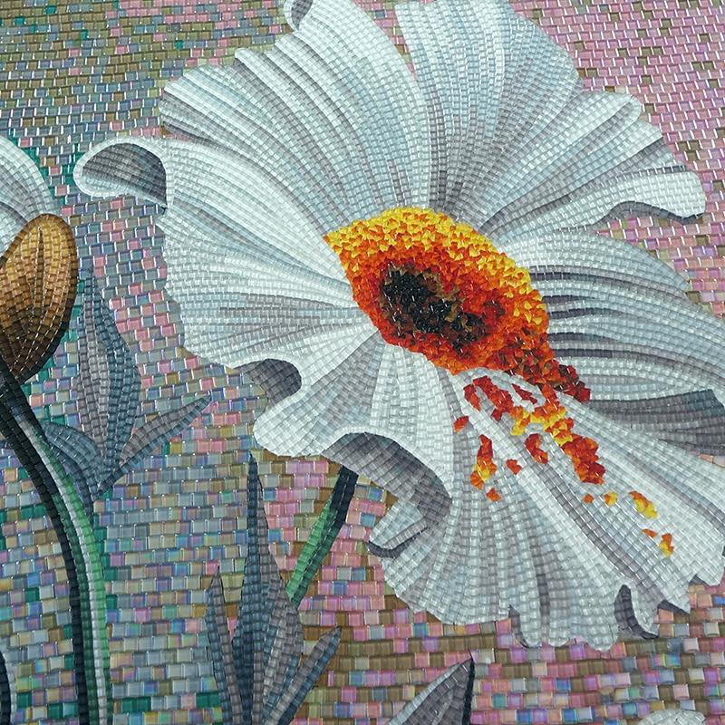 Стеклянная мозаичная роспись для декора стен мозаика из стекла Rosa laevigata Цветочные художественные плитки - 5