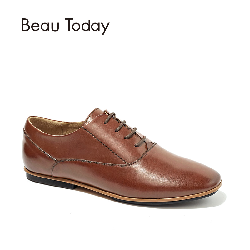 BeauToday Oxfords Women Flats Round Toe Lace-Up Genuine Calf Leather Autumn New Fashion Ladies Shoes with Box 21096 2017 new women shoes genuine leather casual shoes flats breathable lace up soft fashion brand shoes comfortable round toe white