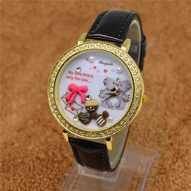 HOT sell008 Korean watch bear table polymer clay watch cartoon lady children the