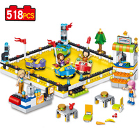 New Style 518pcs The Bumper Car Snack Bar City Fun Park Compatible Legoe 4 Friends Building