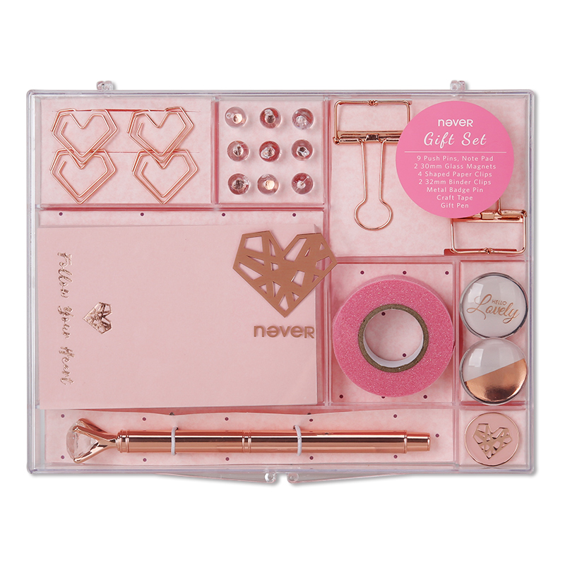 Image 5 - Never Rose Gold Series Stationary Set Metal Pen Memo Pad Push Pins Washi Tape Paper Clips School Office Supplies Gift Stationary-in Stationery Set from Office & School Supplies