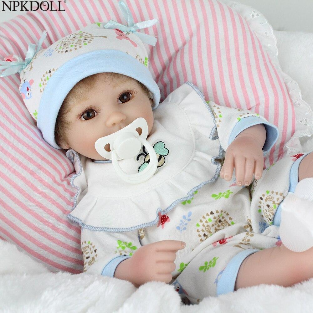 NPKDOLL 17inch 42cm Reborn Baby Doll Handmade Silicone Toys For Children Fashion Boy Newborn Mini Doll