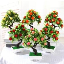 Искусственные фруктовые растения бонсаи оранжевого фруктового дерева в горшке для дома гостиной декоративный цветочный набор магазин отель вечерние украшения