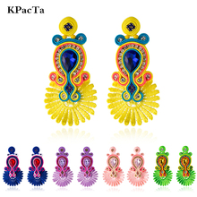 KPacTa New Soutache Handmade Fashion Earrings Ethnic Jewelry Women Crystal Decoration Drop Earring Party Gifts boucle doreille